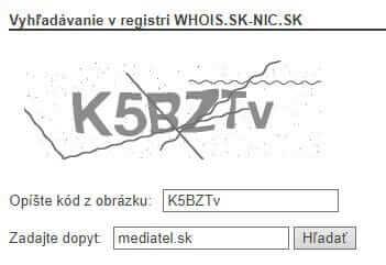 Ochranný kód pre vyhľadávanie v registri WHOIS.SK-NIC.SK