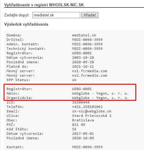 Vyhľadávanie domény v registri WHOIS.SK-NIC.SK