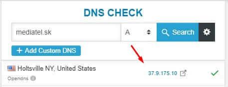 Vyhľadanie poskytovateľ hostingu cez A DNS záznam